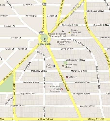 Map of Chevy Chase Circle, Washington DC